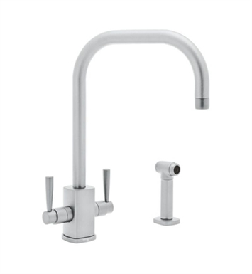 Rohl U.4310LS-STN-2 Perrin & Rowe Contemporary Single Hole U-Spout Kitchen Faucet with Sidespray With Finish: Satin Nickel And Configuration: 2 Handles